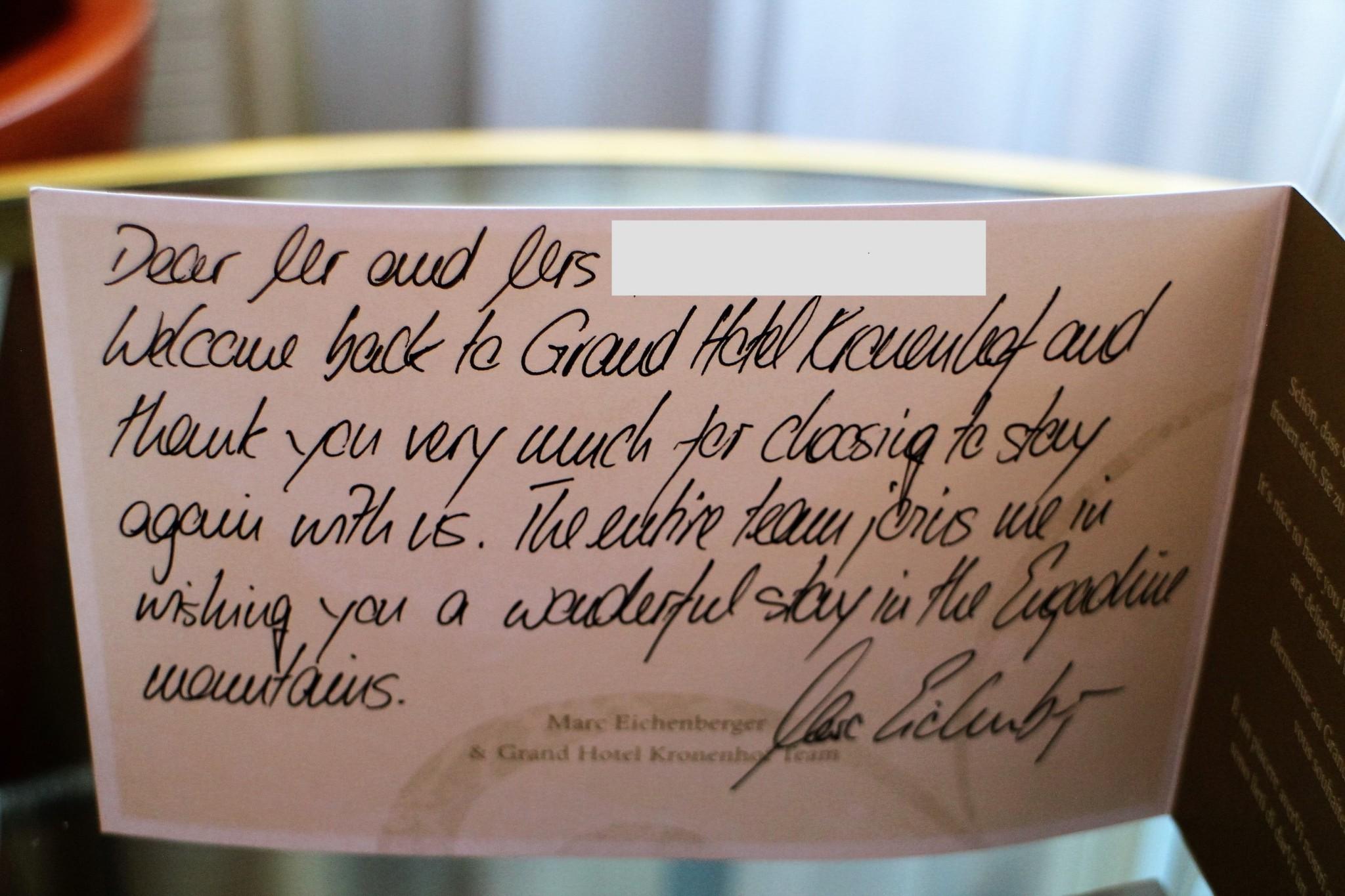 Grand Hotel Kronenhof personal message