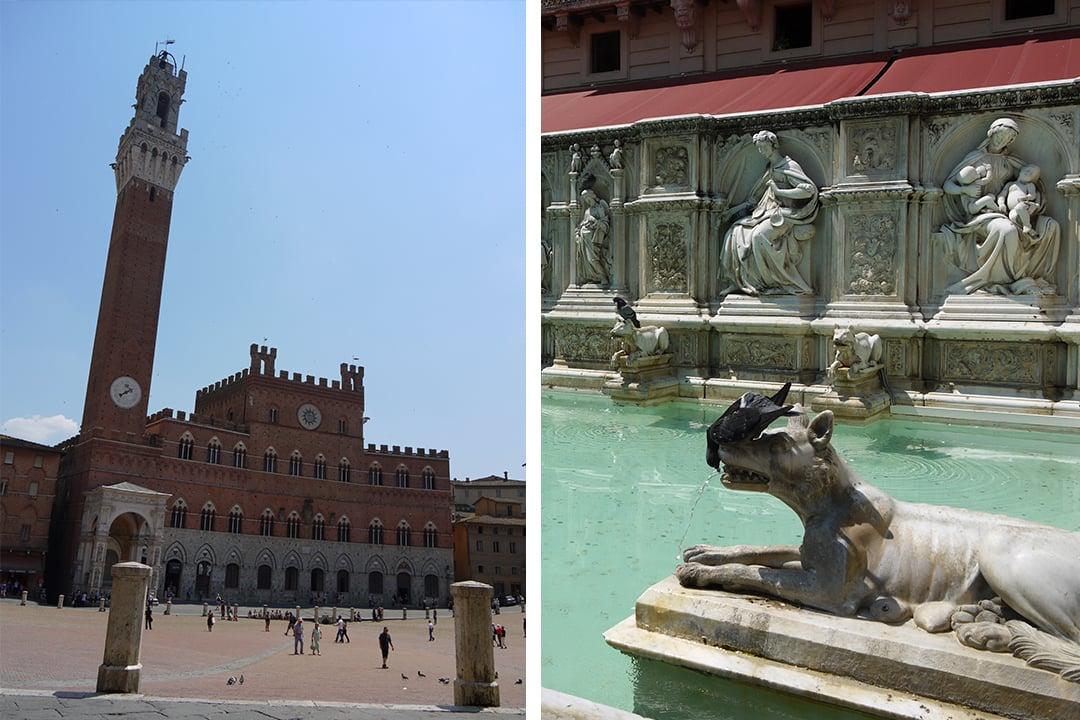 Torre del Mangia ja Fonte Gaia