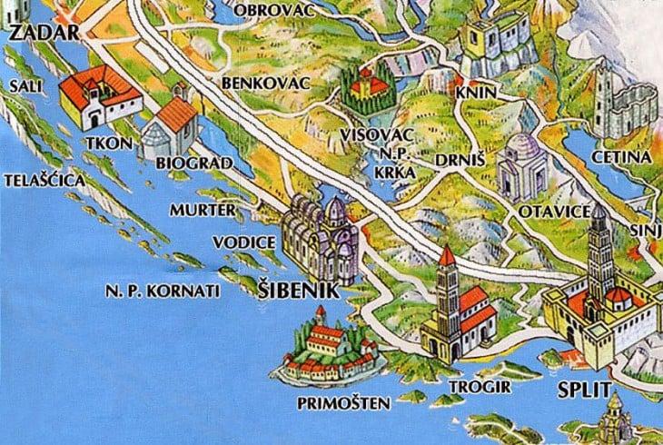 Tämä hyvä kartta löytyi osoitteesta http://www.sibenik-croatia.info/