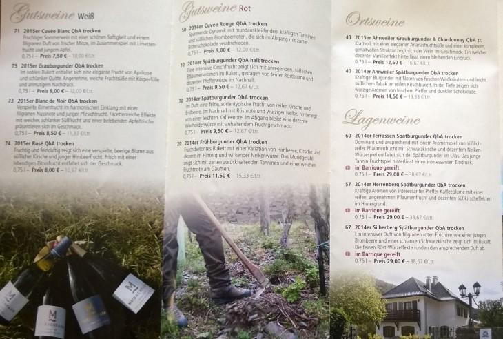 Maibachfarm, luomuviinitilan tuotteisiin pääsee tutustumaan viinitilan lisäksi myös heidän myymälässään Ahrweilerissa. Me maistelimme kahta spätburgunder -lajikkeesta valmistettua luomuviiniä.