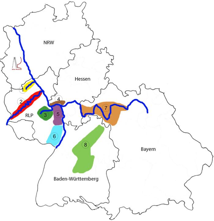 Saksan viinialueet ovat: 1.Ahr 2. Mosel 6 Pfalz 3 Nahe 7 Franken 4 Rheingau 8 Württemberg