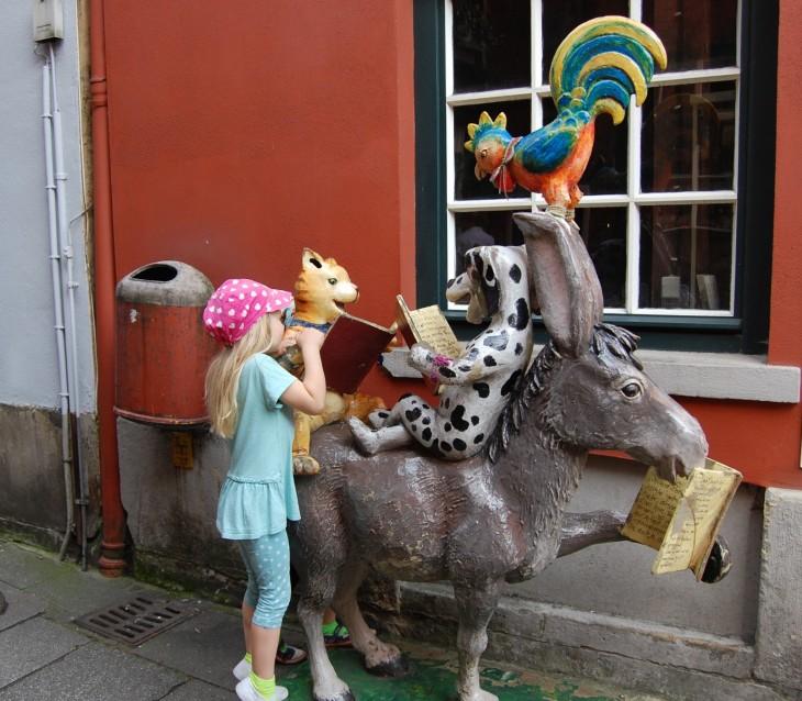 Bremenin soittoniekat patsas Schnoorin kaupunginosassa