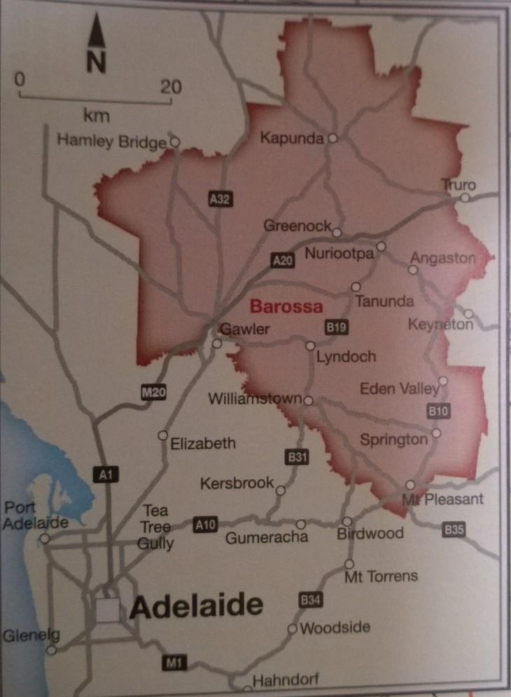 kartta barossa valley
