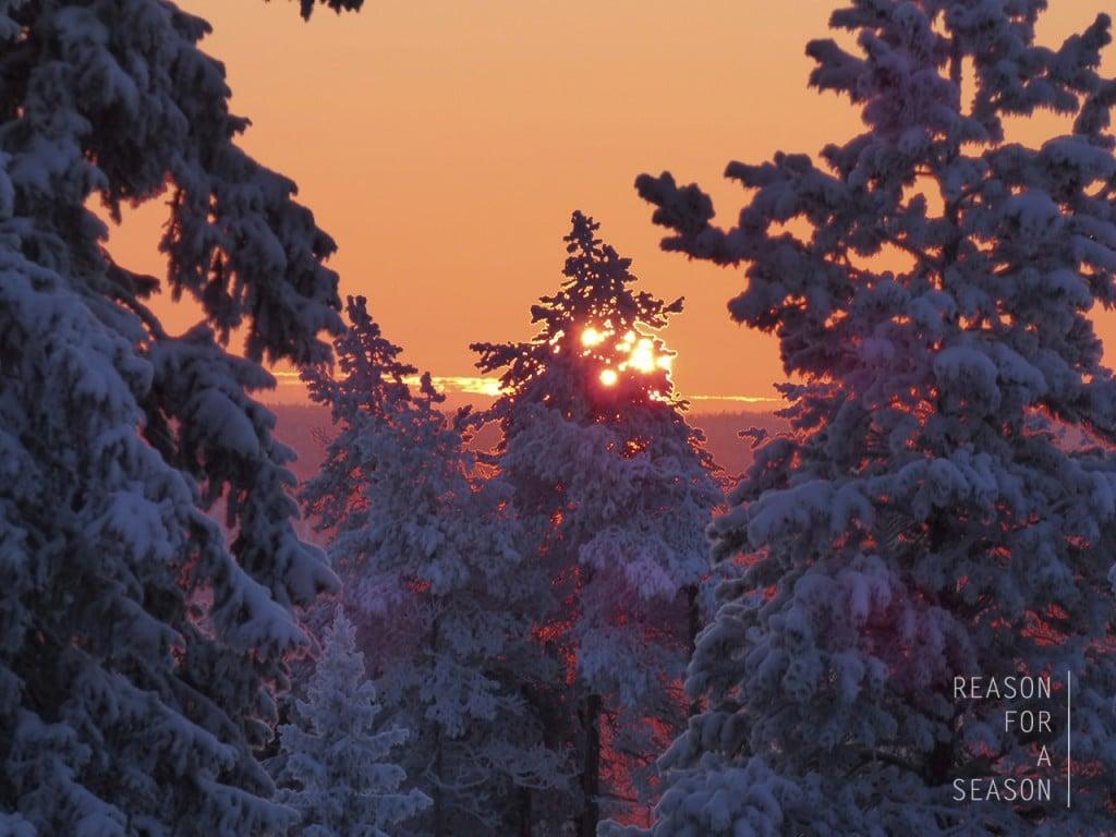 Rovaniemi auringonlasku talvella