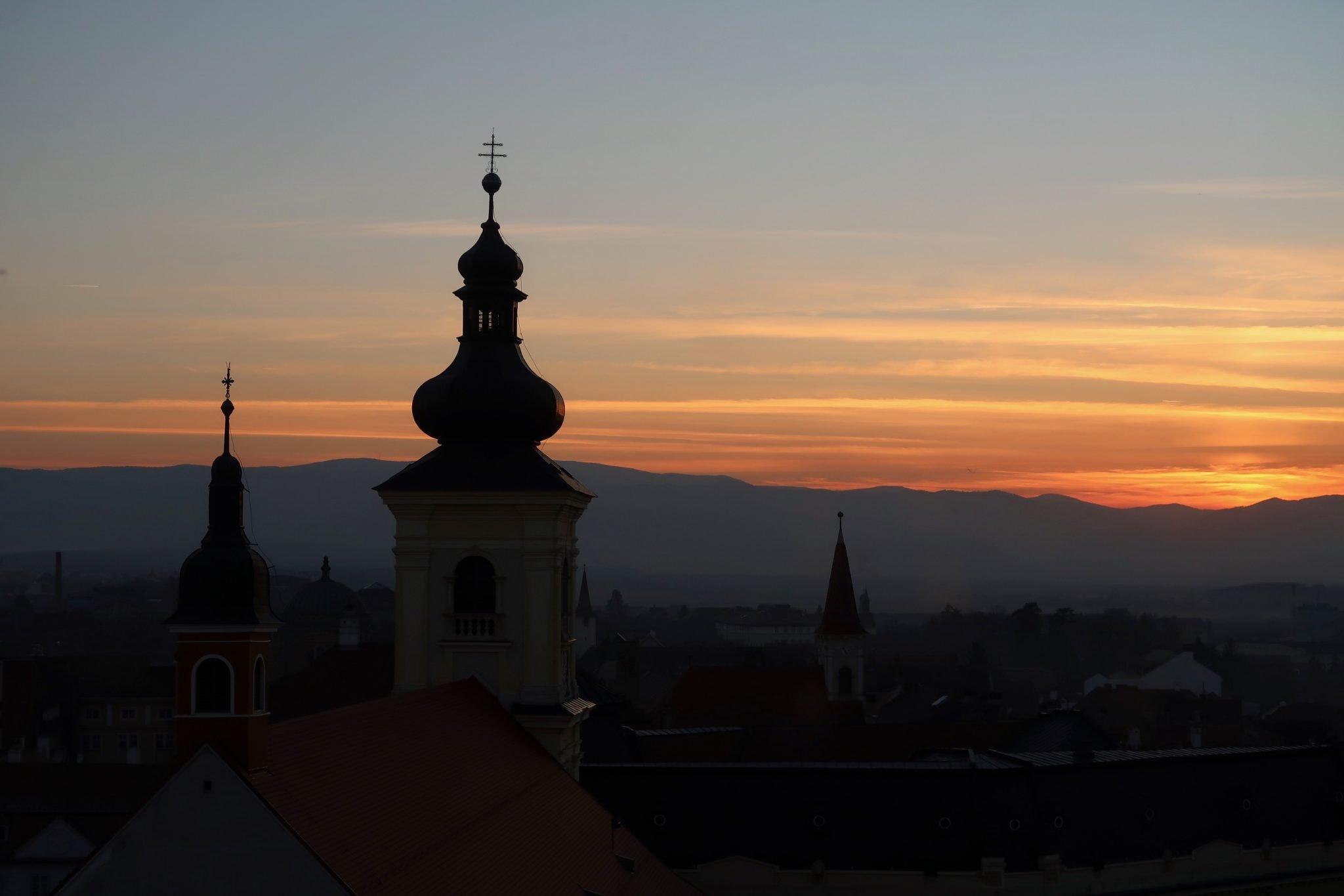 Sibiu Romania auringonlasku