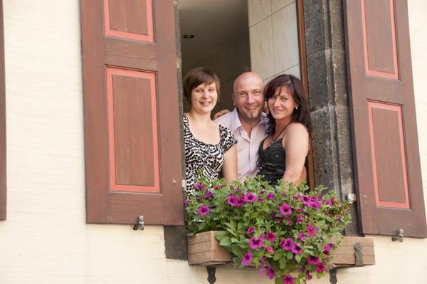 Hotel Lohspeicheria pitää Bethin perhe, Ingo, Birgit ja tytär Laura. Kuva: Hotel Lohspeicher