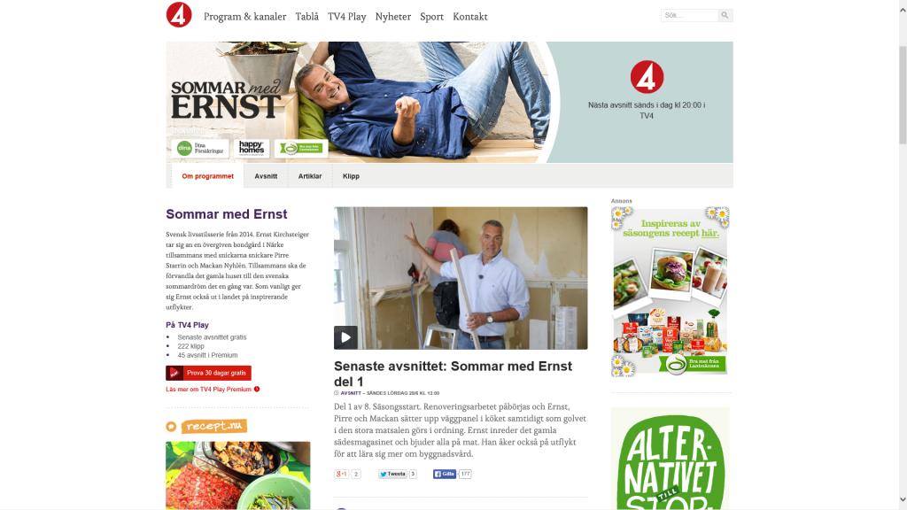 "Sommar med Ernst. Kuva: Kuvakaappaus tv4.se-sivuston ""Sommar med Ernst""-osiosta."