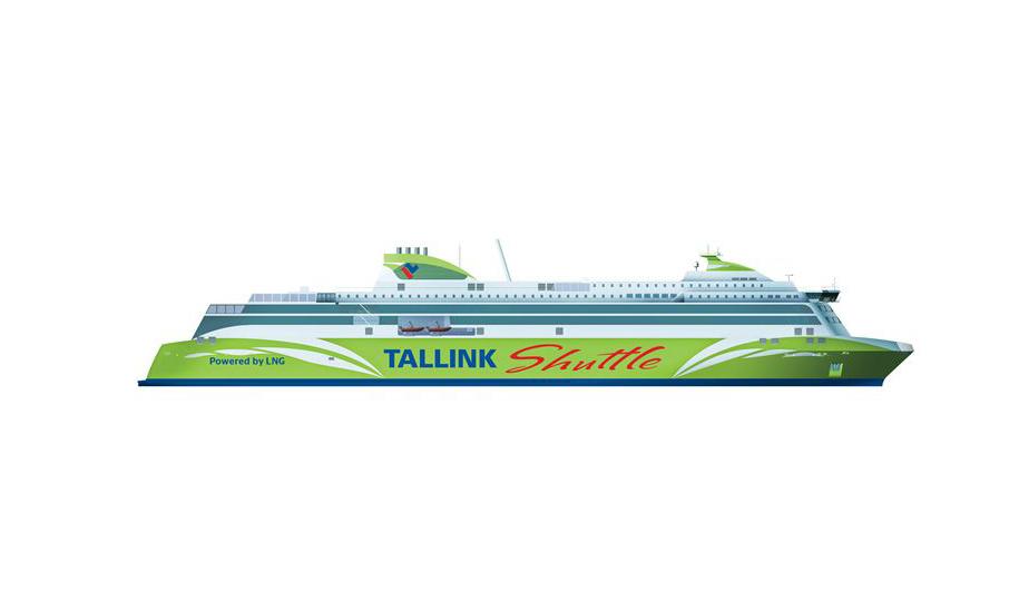 Havainnekuva Tallinkin uudesta LNG-laivasta joka tilattiin eilen Meyer Turun telakalta Tallinnan liikenteeseen. Kuva: Tallink Silja