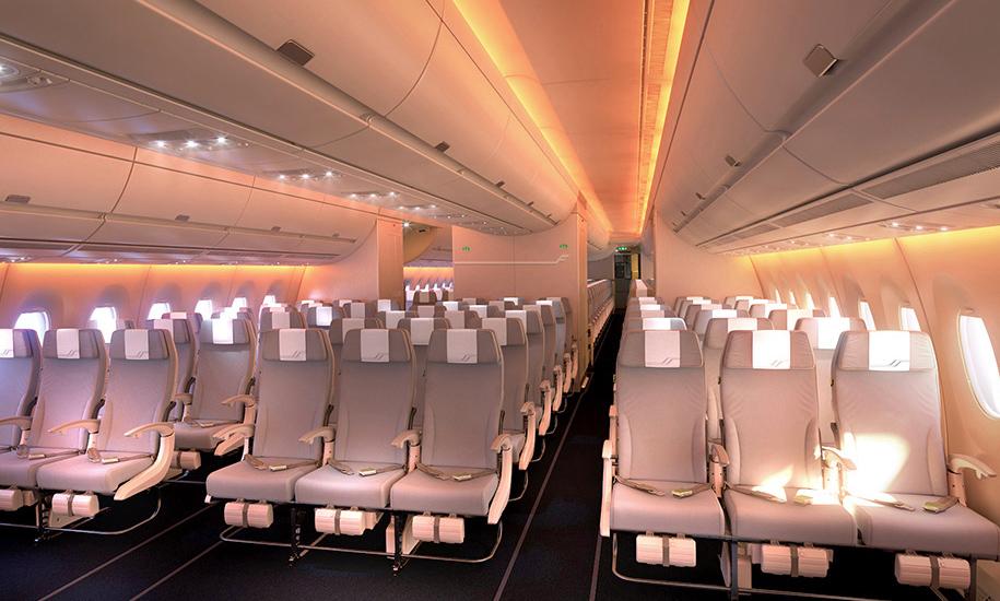 Finnairin Airbus 350XWB-koneen sisustuksen on suunnitellut Vertti Kivi. Kuva: © Finnair
