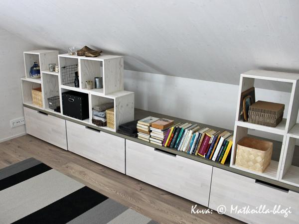 Asuntomessut 2015: 19 - Vivola, vinokattoisen makuuhuoneen tilaa hyödyntävä säilytysratkaisu. Kuva: © Matkoilla-blogi