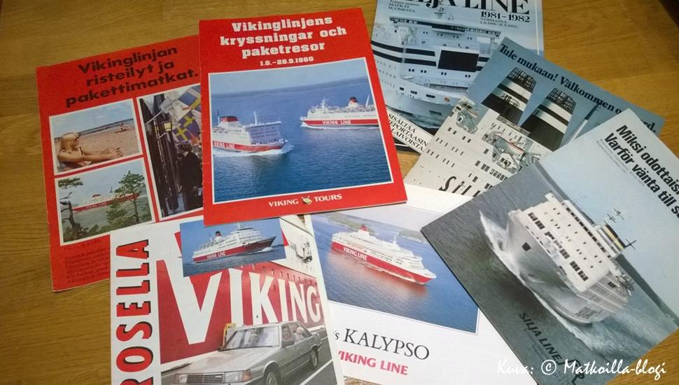 Laivamatkaesitteitä kultaisilta 70- ja 80-luvuilta. Kuva: © Matkoilla-blogi