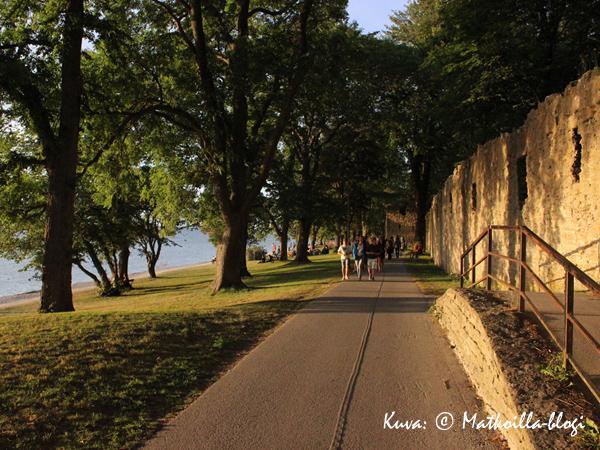 Rantapromenadi Visbyn kaupunkimuurin ulkopuolella. Kärleksporten-portti oikealla. Kuva: © Matkoilla-blogi
