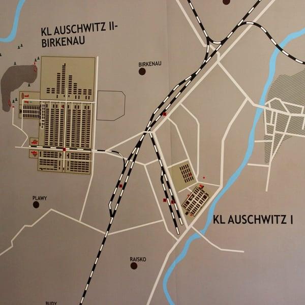 Auschwitz - Birkenau, kartta. Kuva: © Matkoilla-blogi