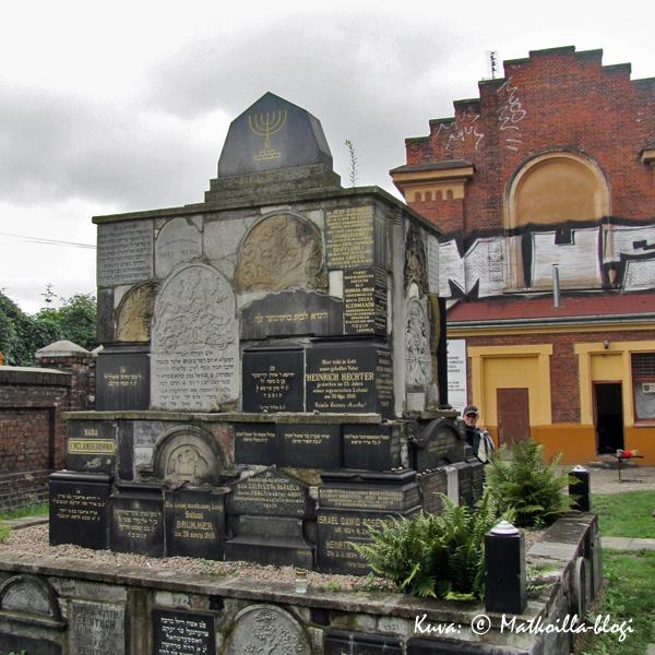 Krakovan uusi juutalainen hautausmaa: Vuonna 1903 rakennetun punatiilisen ruumishuoneen edessä on Holocaust-muistomerkki. Kuva: © Matkoilla-blogi