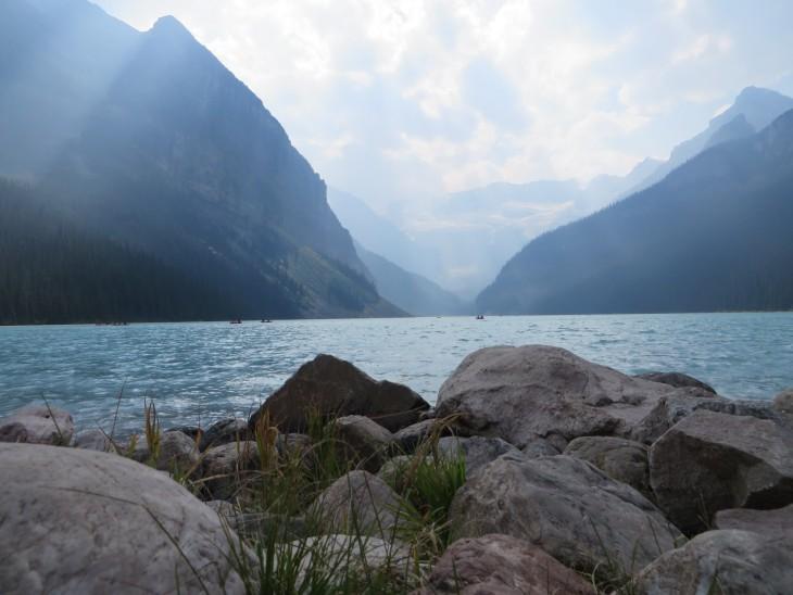 Lake Louise and rocks