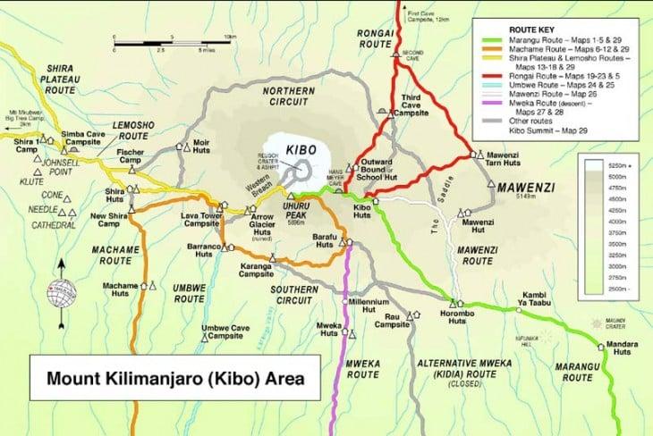 Kilimanjaron reittikartta. Kuva: climbmountkilimanjaro.com