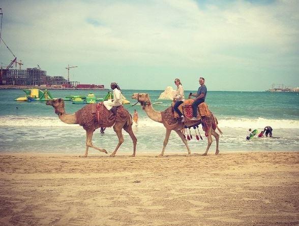 Jumeirahin rannalla pääsi ratsastamaan kameleilla