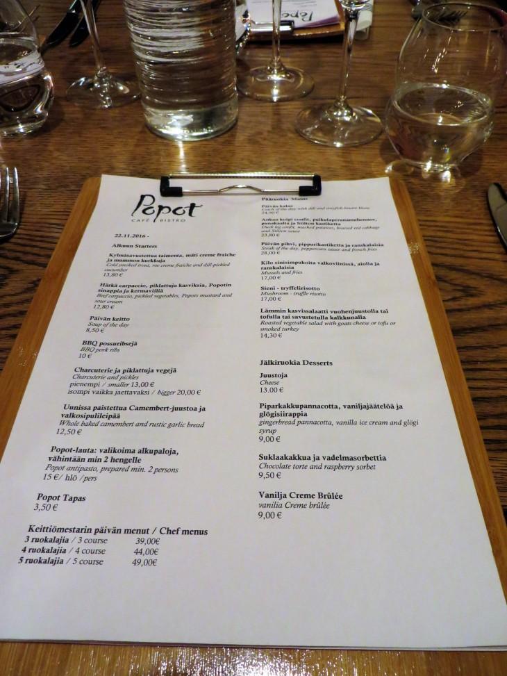 Bistro Popot menu