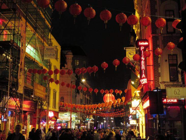 chinatown by night in london