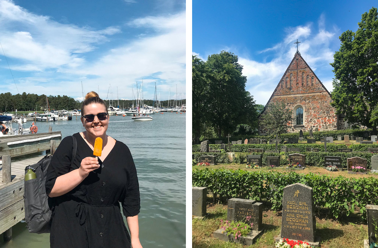 nainen jäätelö kädessä satamassa ja nauvon kirkko
