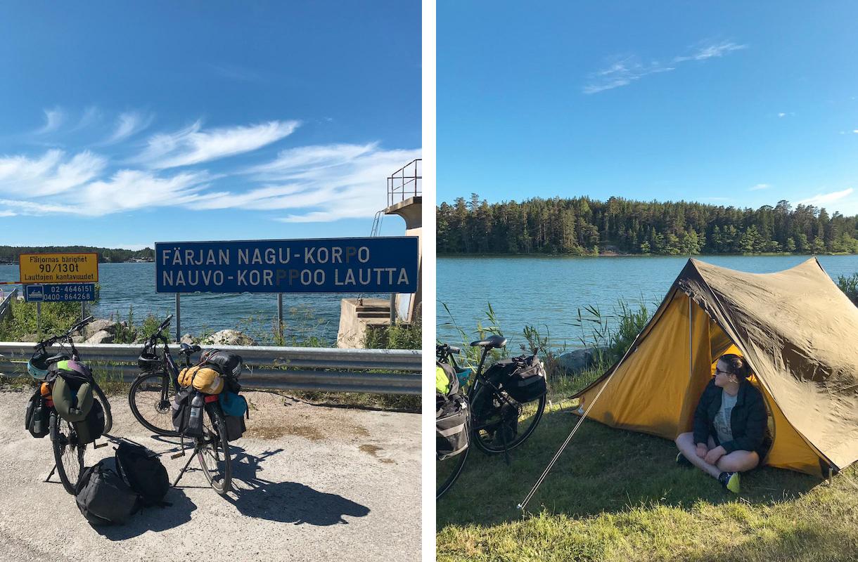 pyörät ja teltta saariston rengasreitillä