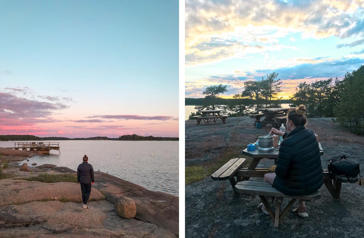 vaaleanpunainen taivas saaristossa ja nainen kokkaamassa retkiruokaa