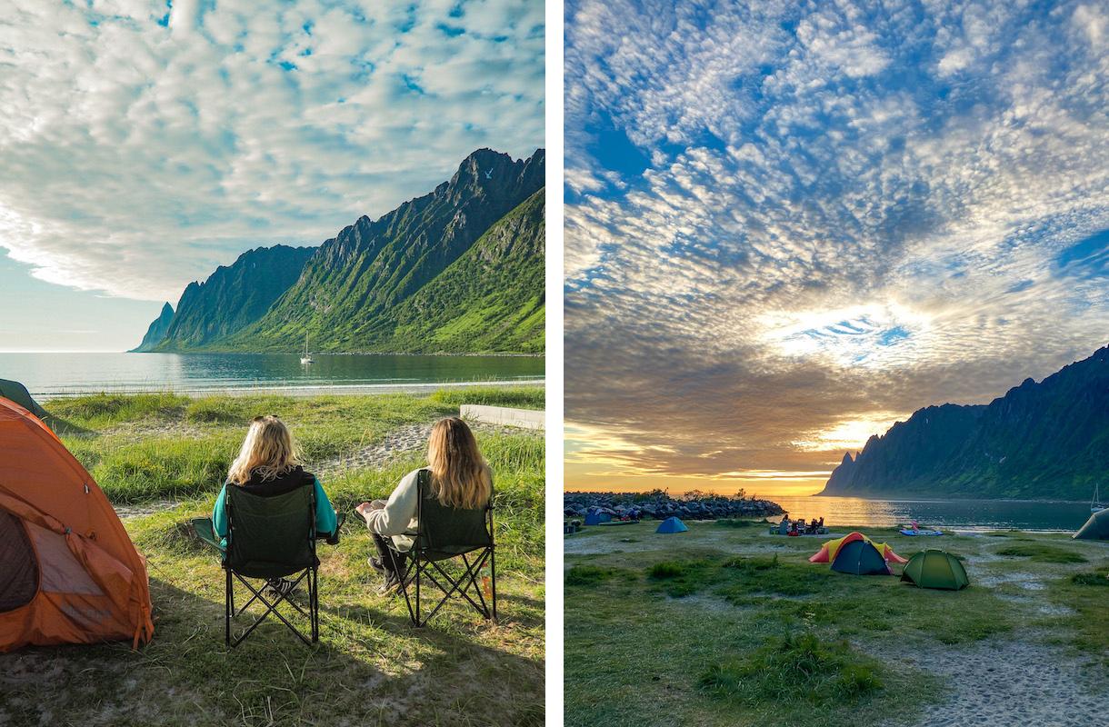 teltta ja retkituolit ersfjordstrandan rannalla senjan saarella