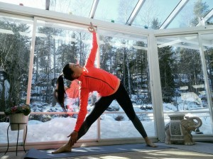 Trikonasana  Triangle pose This posture strengthens and lengthens thehellip
