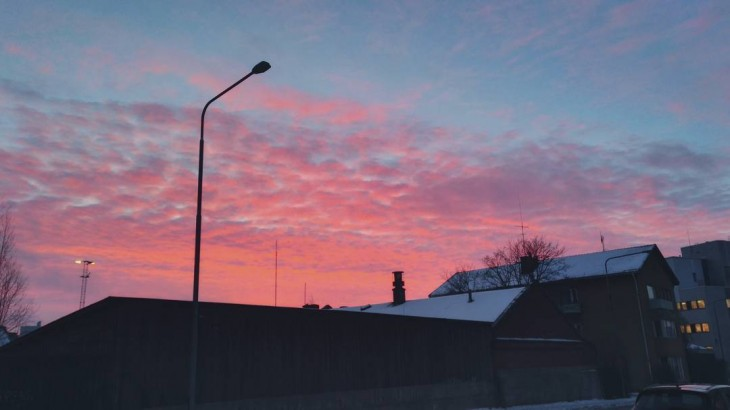 What amazing colours! Saw this beautiful view on my way to work. #morningsky #colorsofsky #pinksky