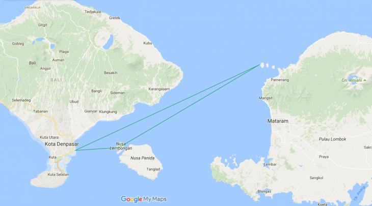 Bali Lombok saaret Gili saaret Nusa Lembongan kartta
