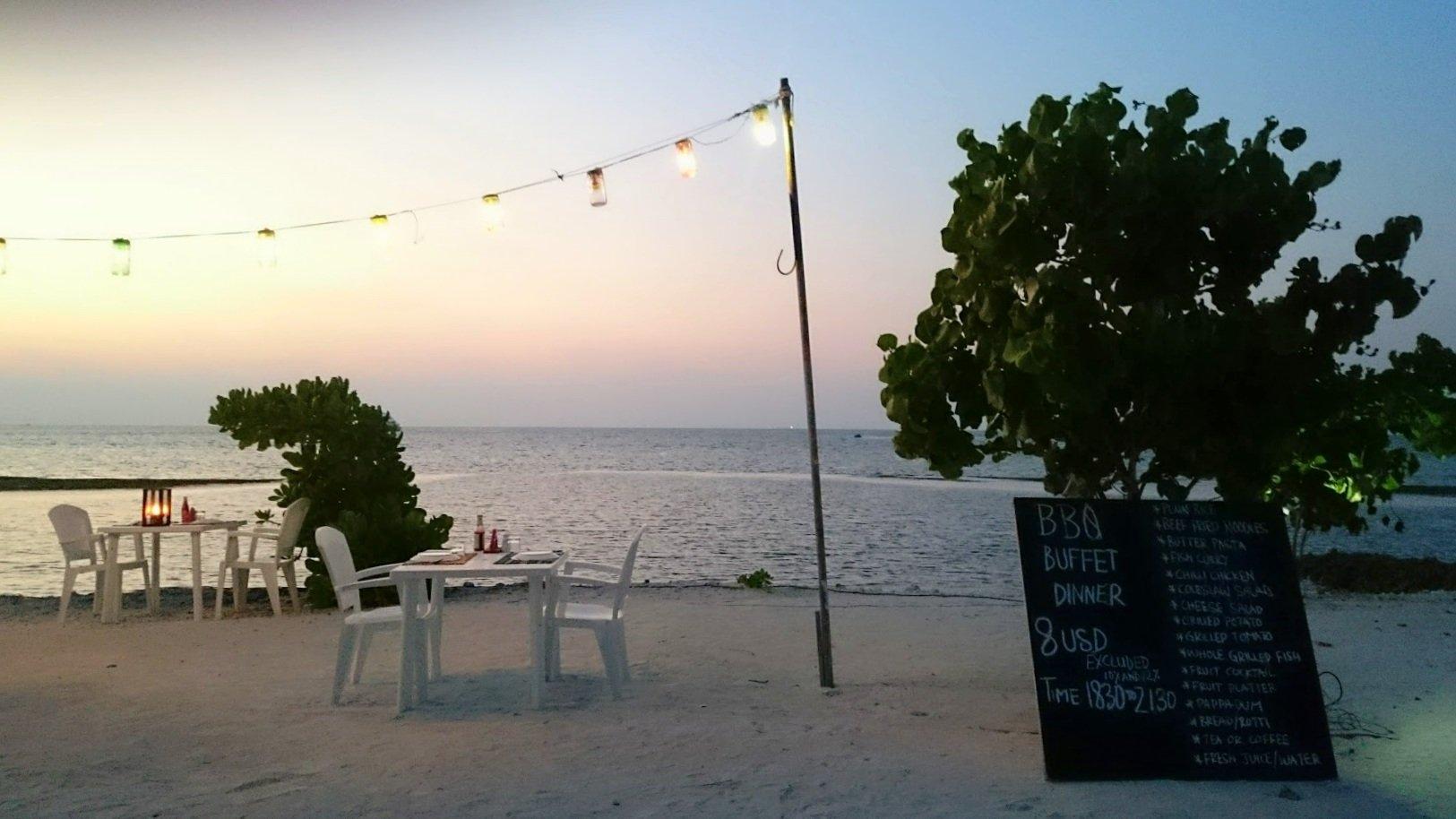Maafushi ravintola ruoka edullisesti malediiveille kokemuksia
