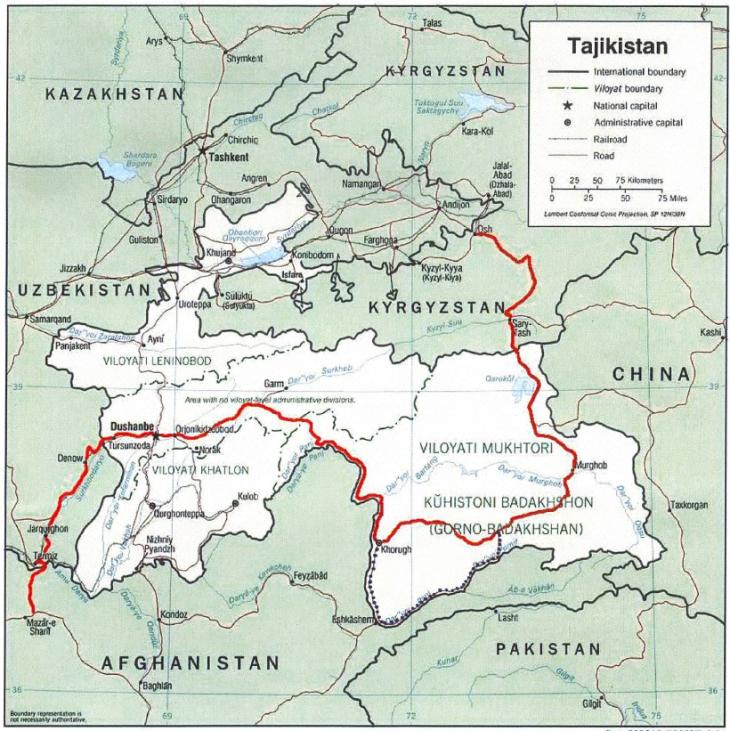 Tadzikistan Kirgisia Pamir vuoristo kartta