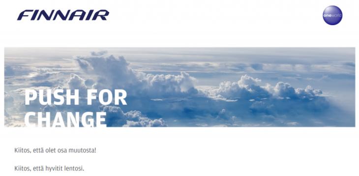 Finnair push for change kompensaatio lentojen päästöjen kompensointi hyvitys päästöt lentopäästöt