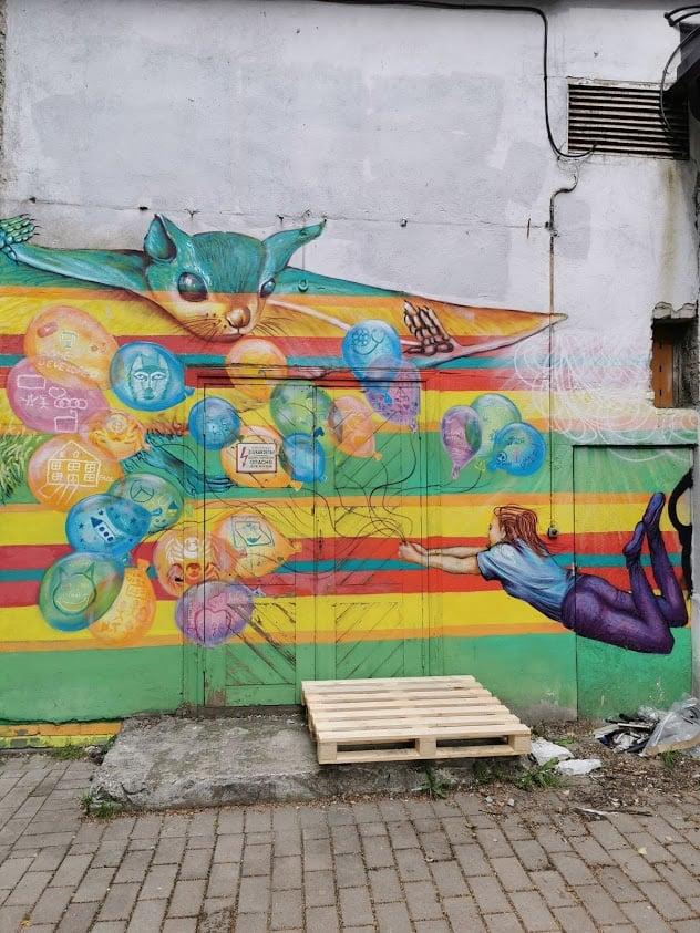 Telliskivi seinä maalaus muraali