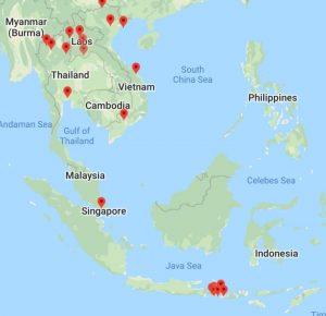 kartta käymistäni paikoista