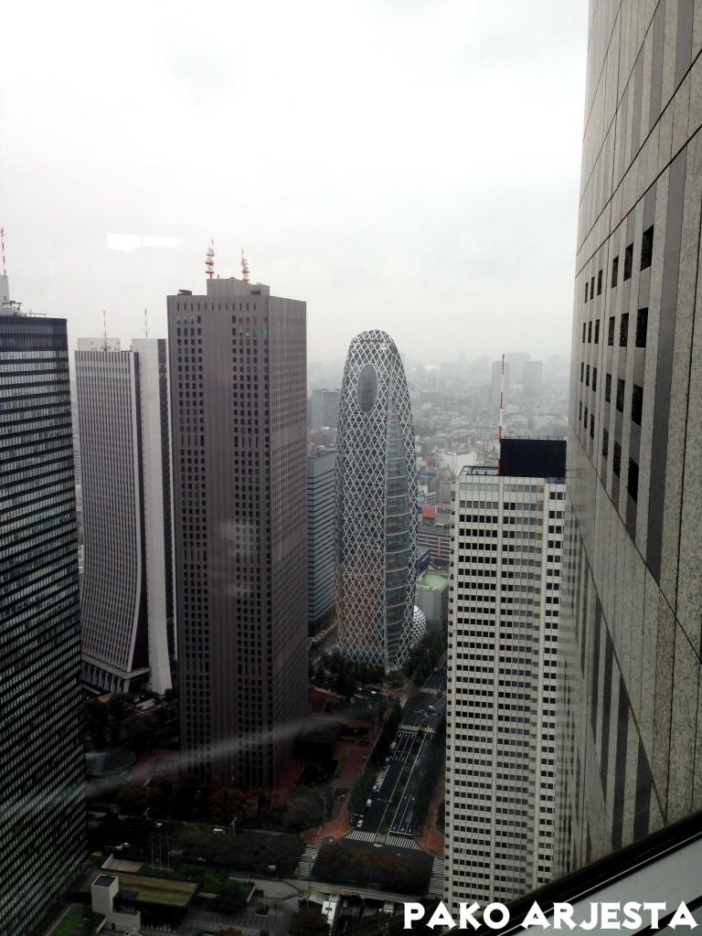 Cocoon-rakennus Metropolitan Government Buildingista nähtynä