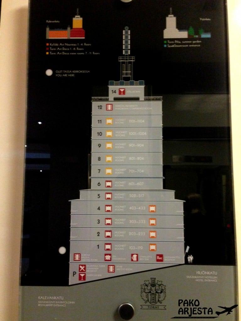 Hotellin Torni-osan kartta