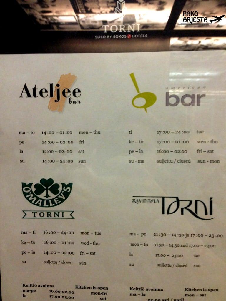 Tässä on lista Hotelli Tornin ravintoloista ja baareista
