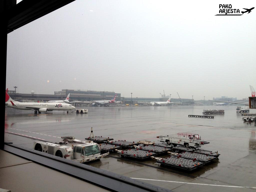 Sateinen Narita oli masentava näky... mutta onneksi lounge piristi