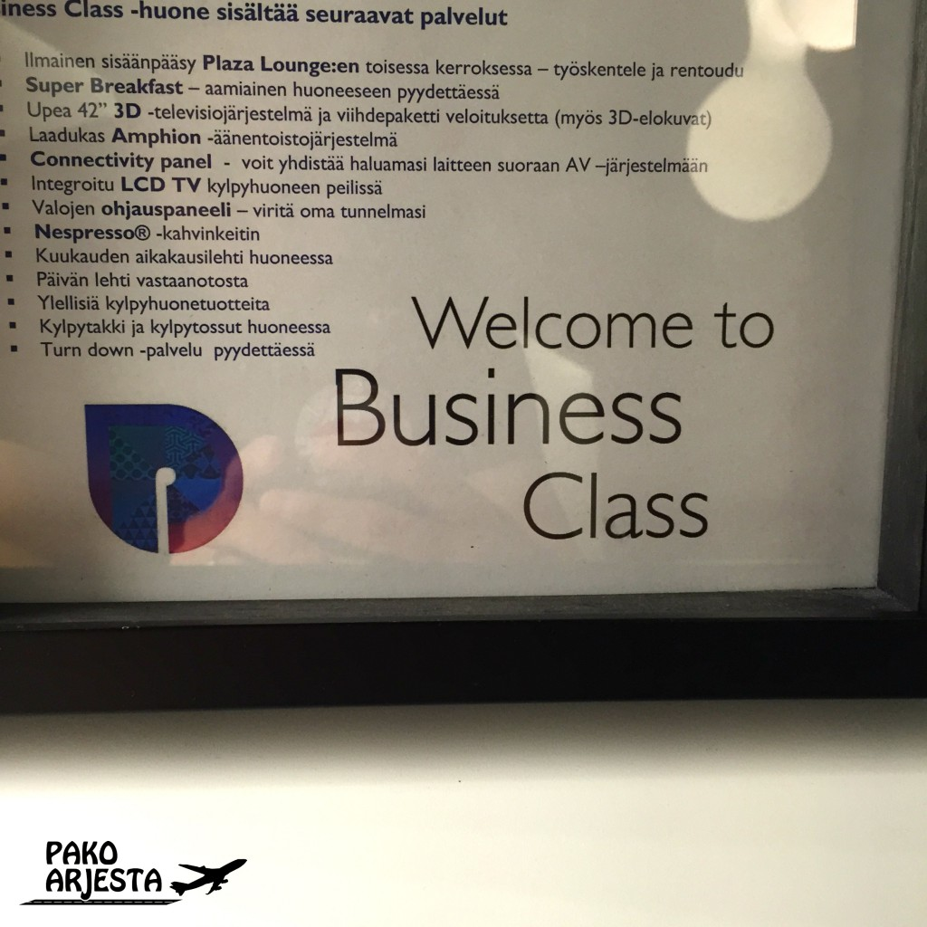 Radisson Blu Plaza Helsinki Business Class kyltti