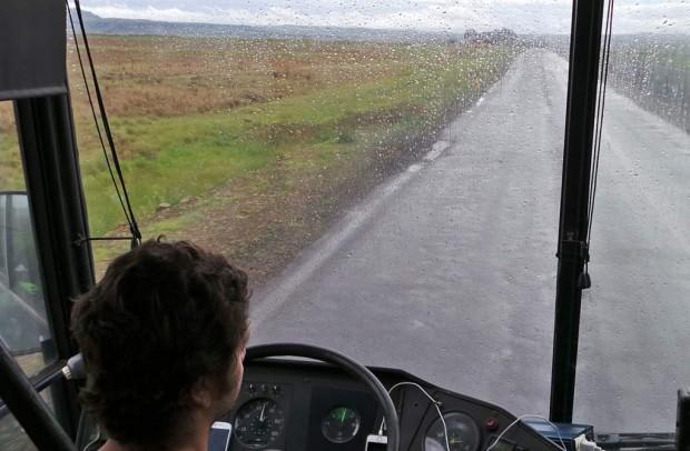 Ensimmäinen ajopäivä oli sateinen, eikä Ajokin pyyhkijät toimineet.