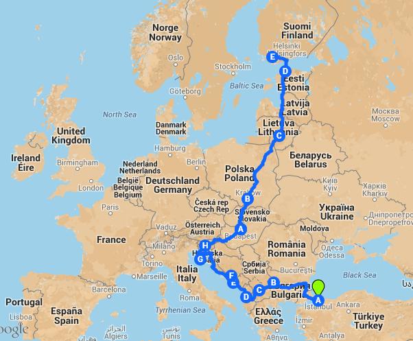 Euroopan alustava reittisuunnitelma.