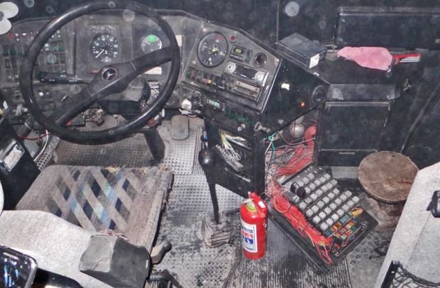 Sähköpalon jälkeen Ajokin ohjaamo näytti tältä.