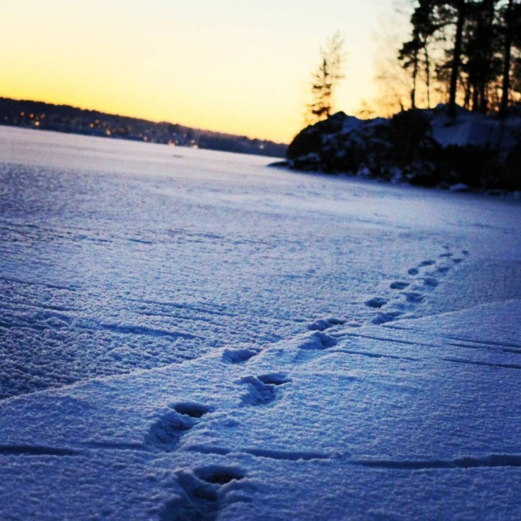 snow ice sunset pyhjrvi pyynikki tampere