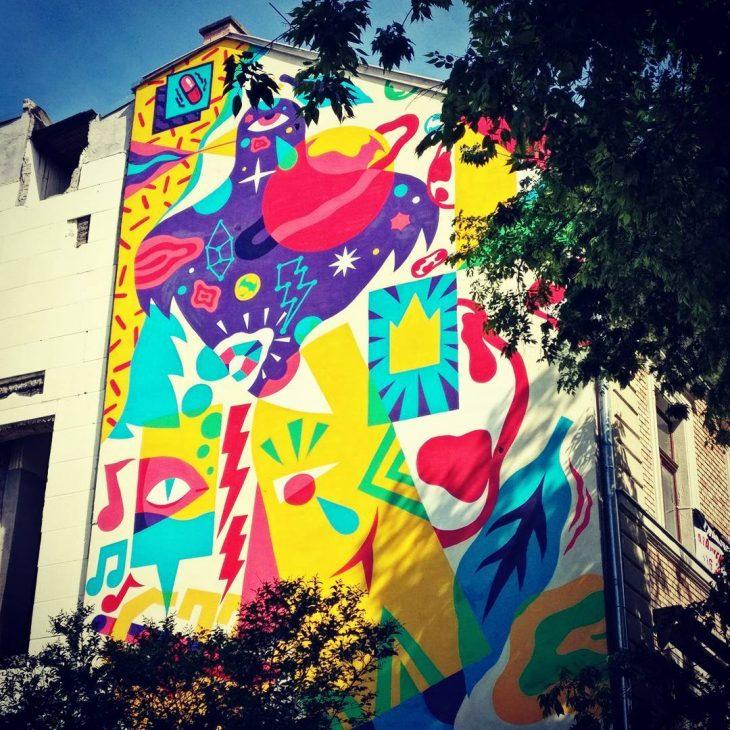 Wonderfully colourful mural in Budapest! budapest hungary streetart graffiti graffitiarthellip