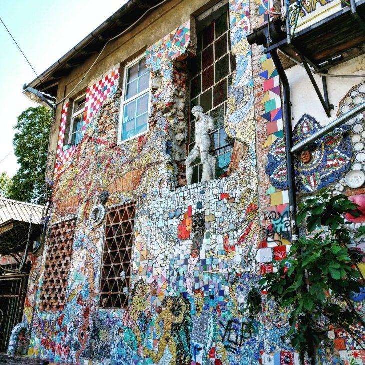 Mosaic wall in metelkovamesto metelkovamestoculturalcentre ljubljana slovenia visitslovenia streetart mosaichellip