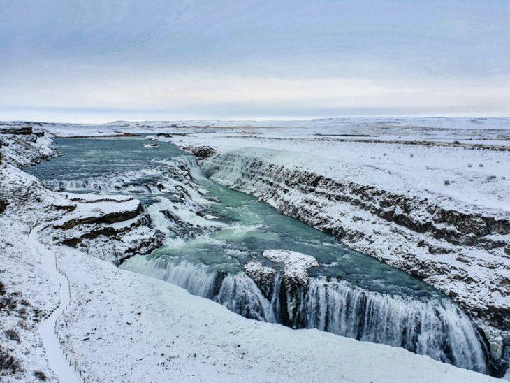 Big ice and snowy waterfall