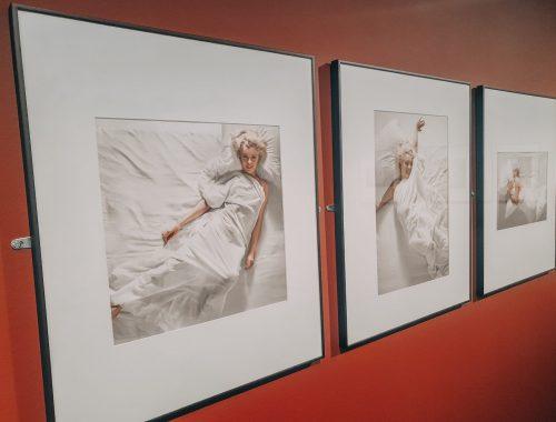 Marilyn Monroen kuvia näyttelyn seinällä