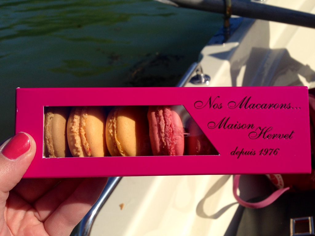 French macarons in a pink box