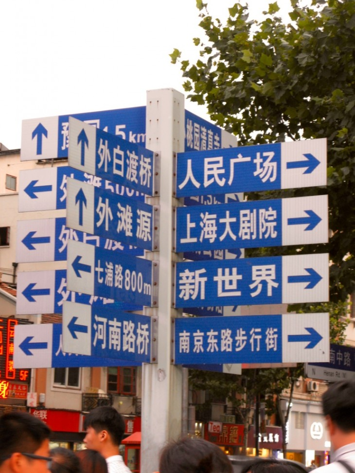 Shanghai Chinese road sign